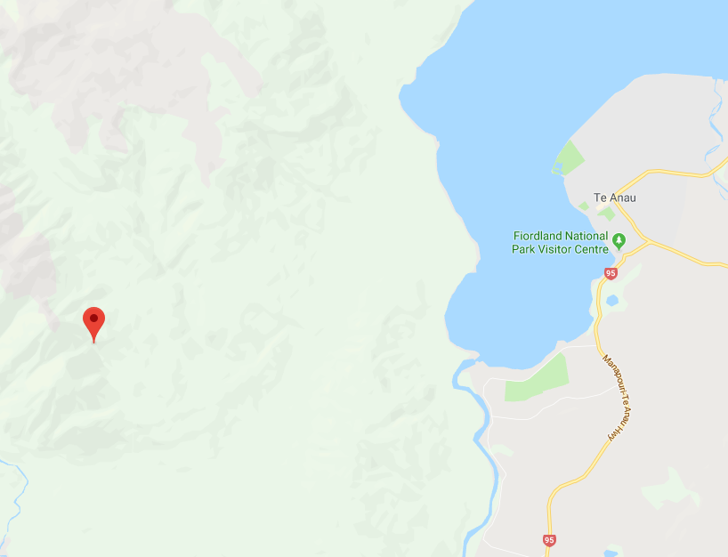 The 60km Keplar Track starts in the clouds (where the pin is) before taking you back down to Te Anau (screenshot from Google Maps)