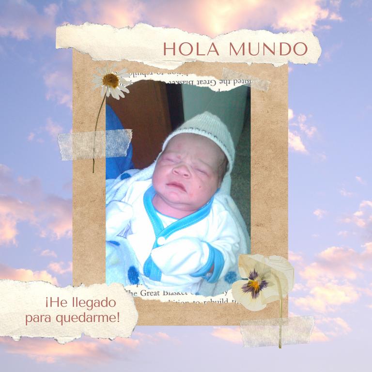 Instagram Post Hecho a mano de Anuncio de Nacimiento de Bebé de Color Terracota.png