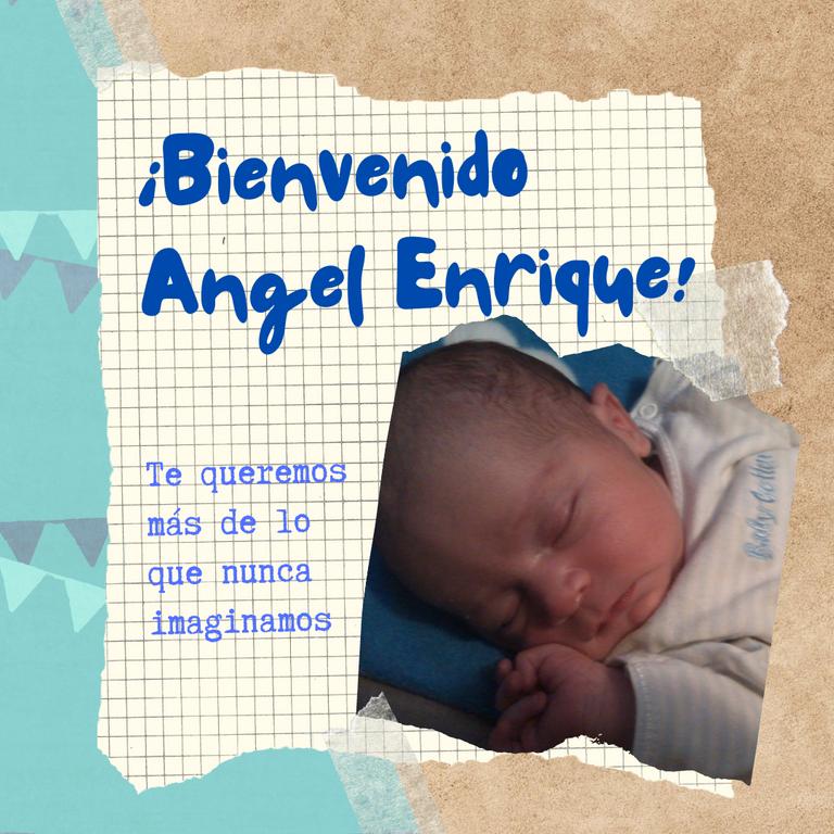 Instagram post Anuncio de Nacimiento de Bebé con Foto y Nombre, textura de papel, cartón color rosa.png