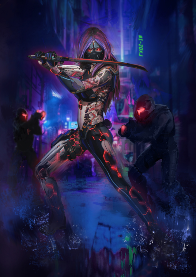 Our Yakuza officer art by ShinoXL. One of the cards to acquire as a possible weekly drop on the Syndicate Contract.