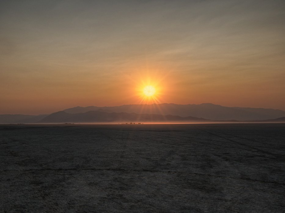 Sunset on the Black Rock. There was just enough smoke from the California fires to create the color band in the sunset.