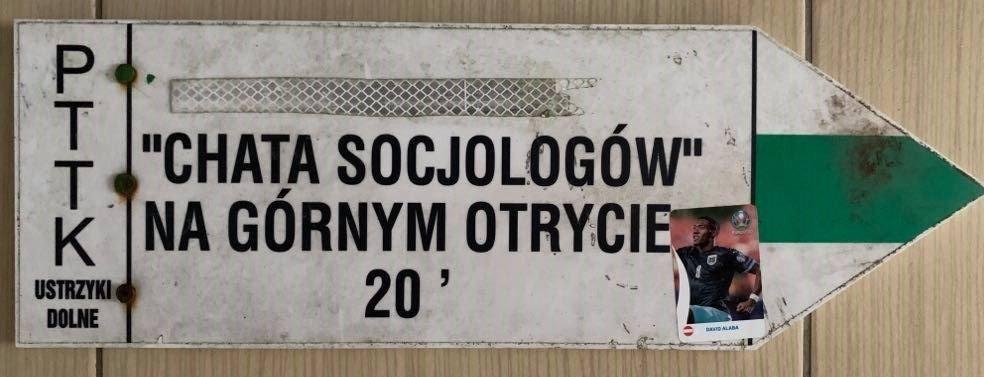 Oryginalna tabliczka szlakowa - Chata Socjologów