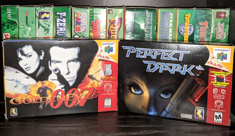 Game boxes of GoldenEye and Perfect Dark