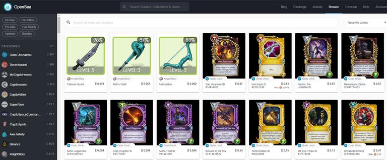 Digital Items traded on OpenSea