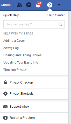 Accessing Facebook Privacy Checkup