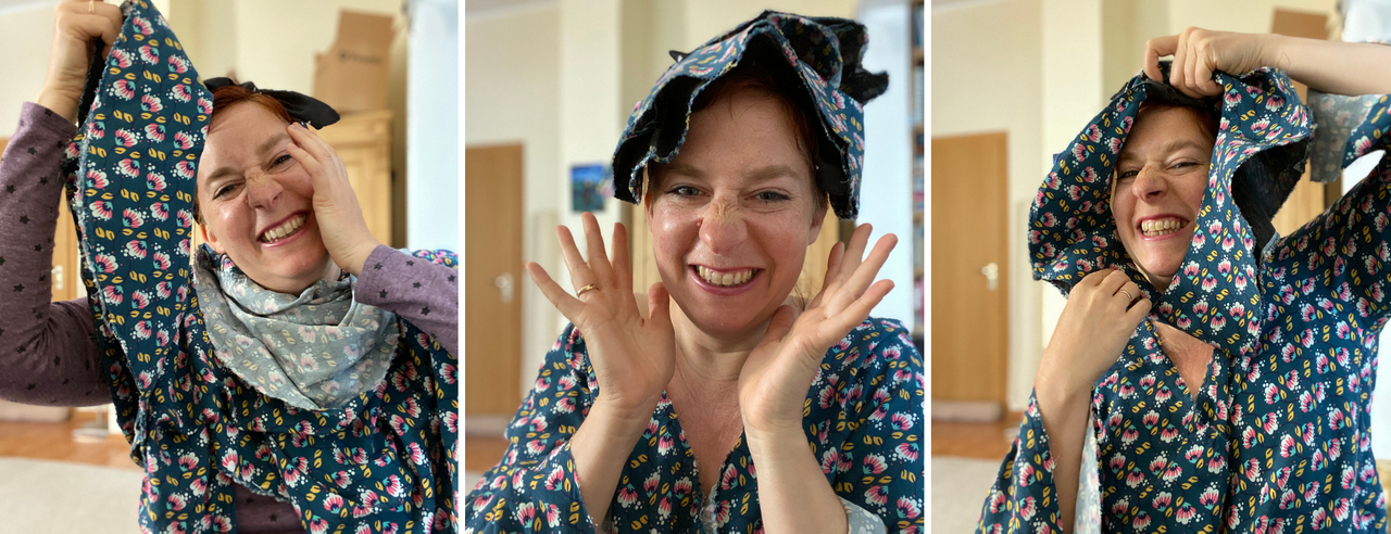 Simone making fun with the ripped Karlene blouse by wearing the oka as a hat or hairband