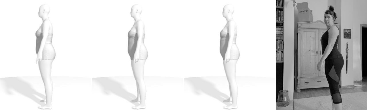 three different 3D models of Simone from the software tailornova and a profile photo of Simone