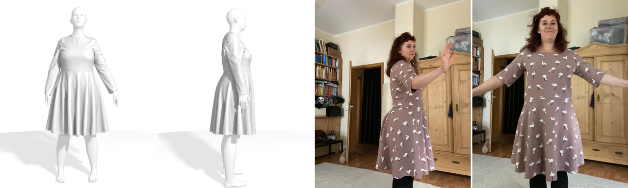 two versions of a dress on a tailornova 3D model and on Simone