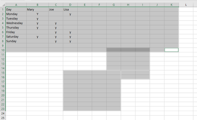 how to select multiple ranges in excel