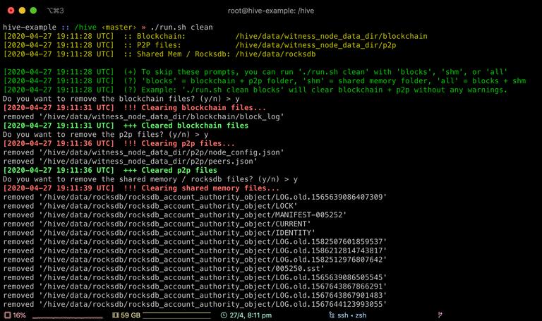Screenshot of run.sh clean command