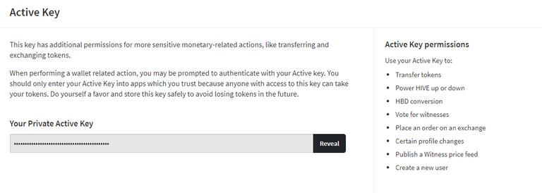 Screenshot of Hive Wallet active key page