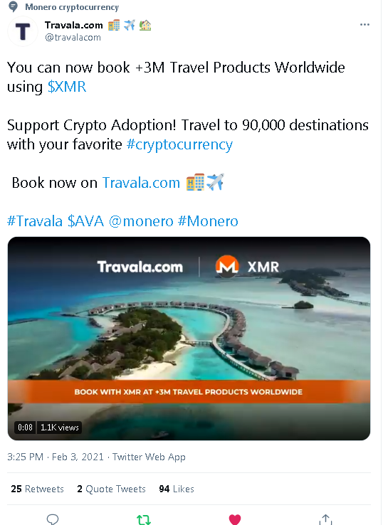 20210203 21_37_101 Travala.com 🏨 ✈️ 🏡 on Twitter_ _You can now book 3M Travel Products World.png