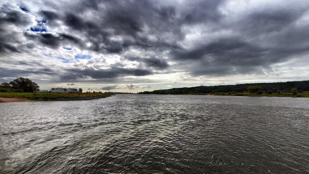 Dark clouds over the ferry.