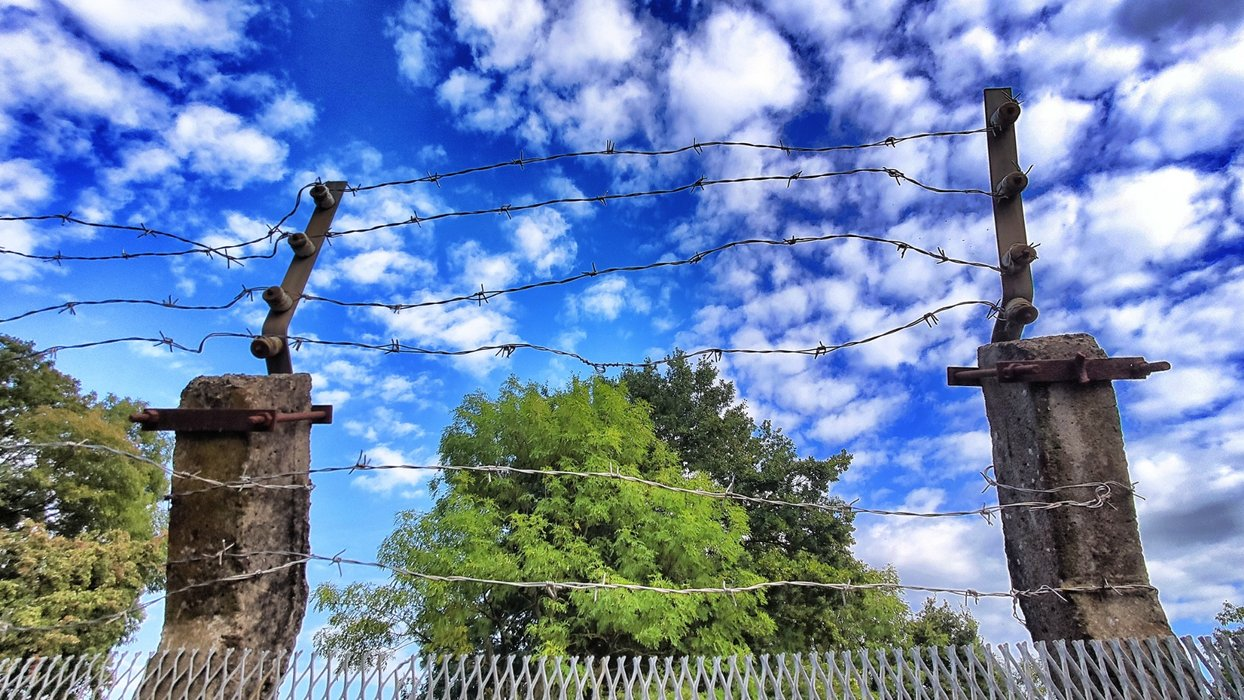 Blue sky, barbed wire.