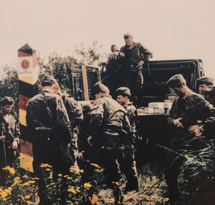 East german border guards at the border fence. (Pic: Petra)
