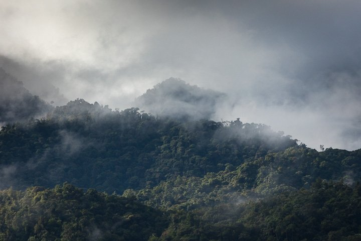 Morning mood with clouded hills
