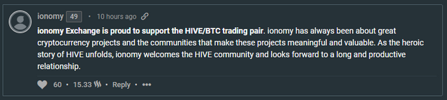 Comment by @ionomy on the Hive announcement post