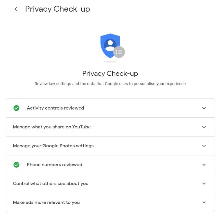 Google Privacy Check-up