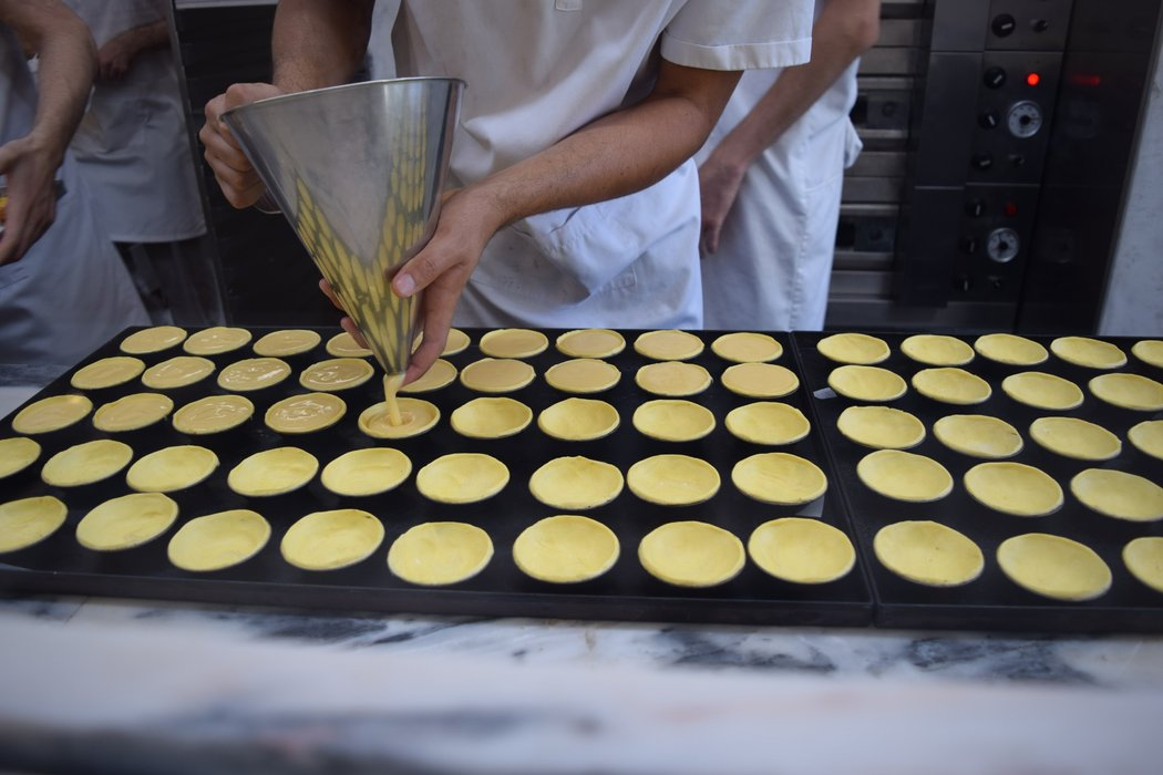 Pastel de Nata being prepared