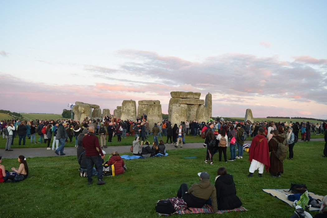 Crowds gathering for sunset at Stonehenge