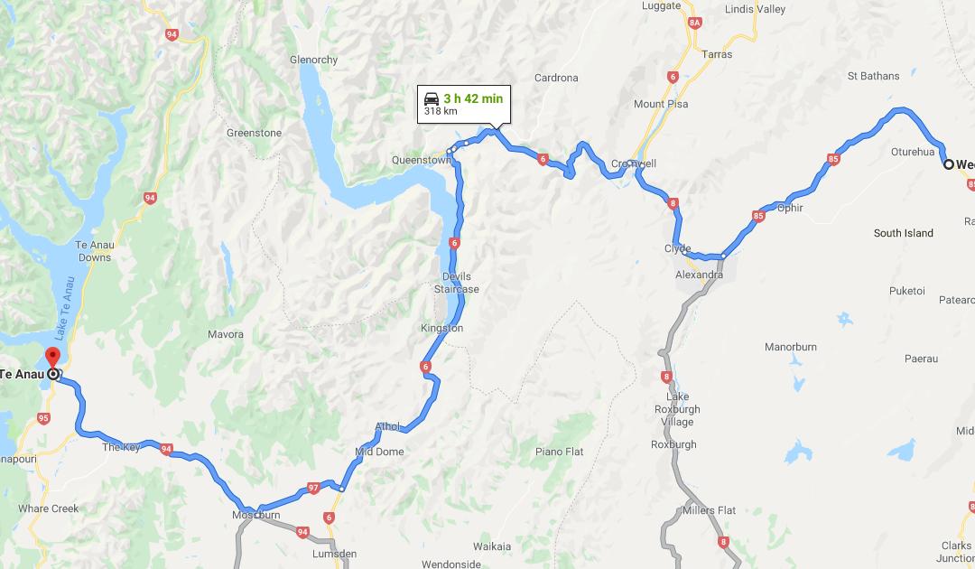 The route from Te Anau to Wedderburn