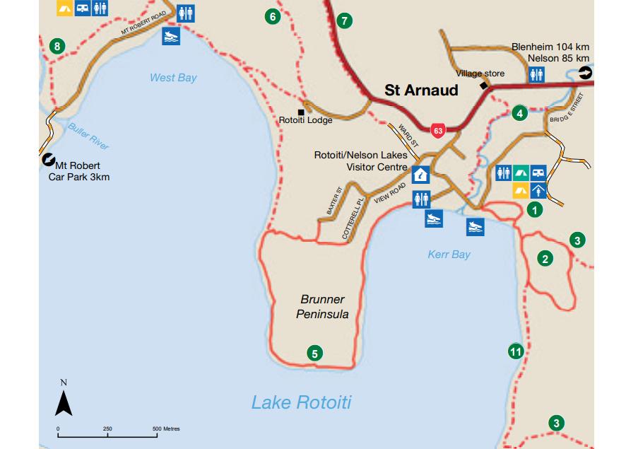 Map of the short walks around Lake Rotoiti
