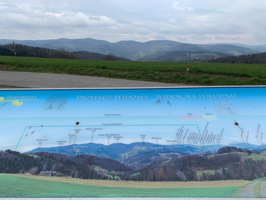 Widok z Przełęczy Widoma na południe.