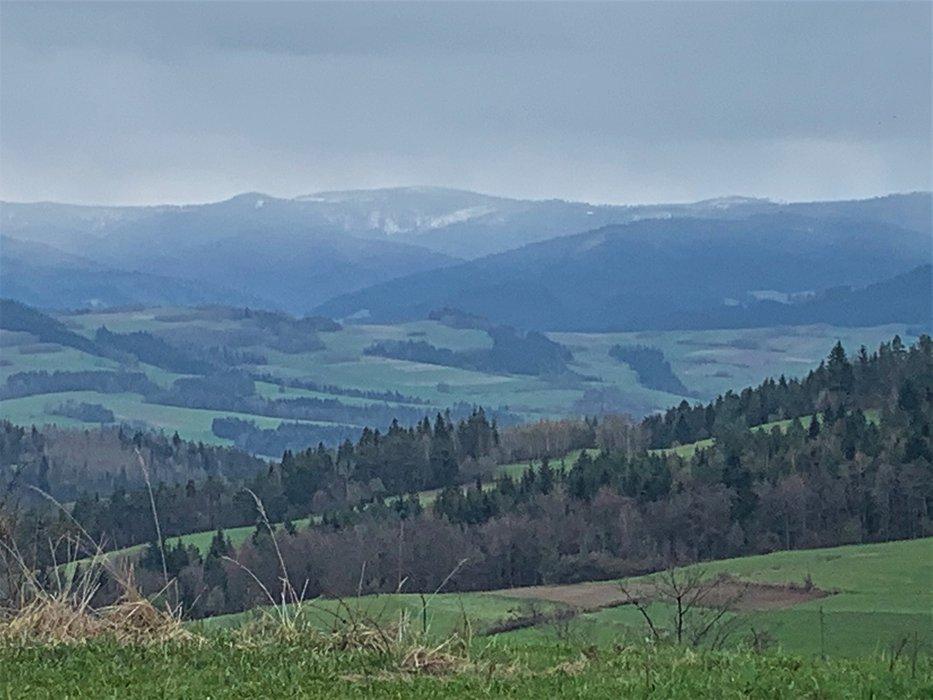 Widok na Gorce (lekko ośnieżone)