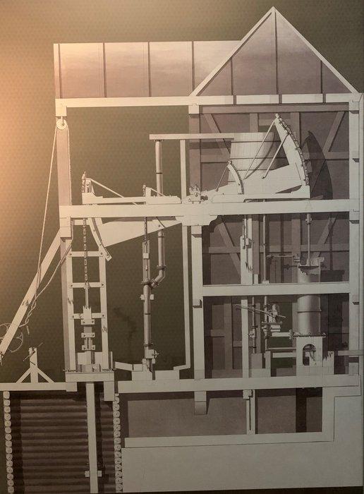 Schemat maszyny parowej w kopalni srebra