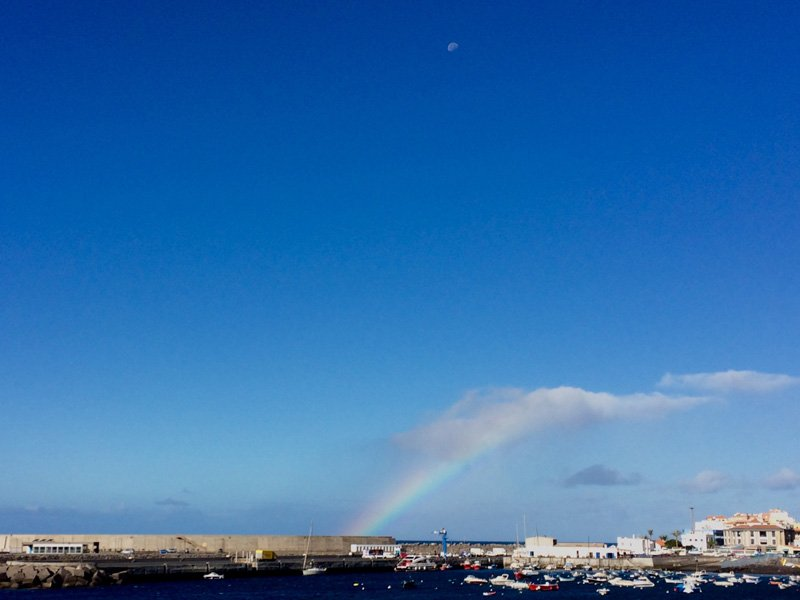 Rainbow over Valle Gran Rey port. La Gomera. Canary islands