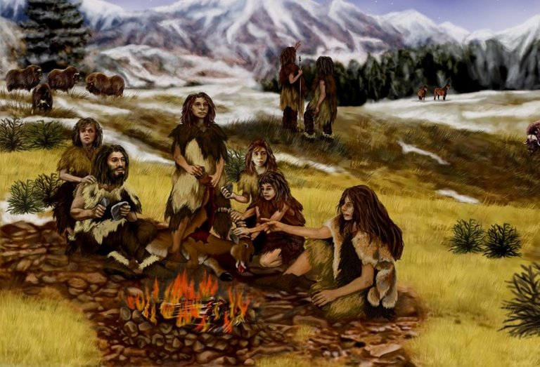neanderthals_prehistoric_mountains_animals_landscape_people_primitive_nature-1133633.jpg