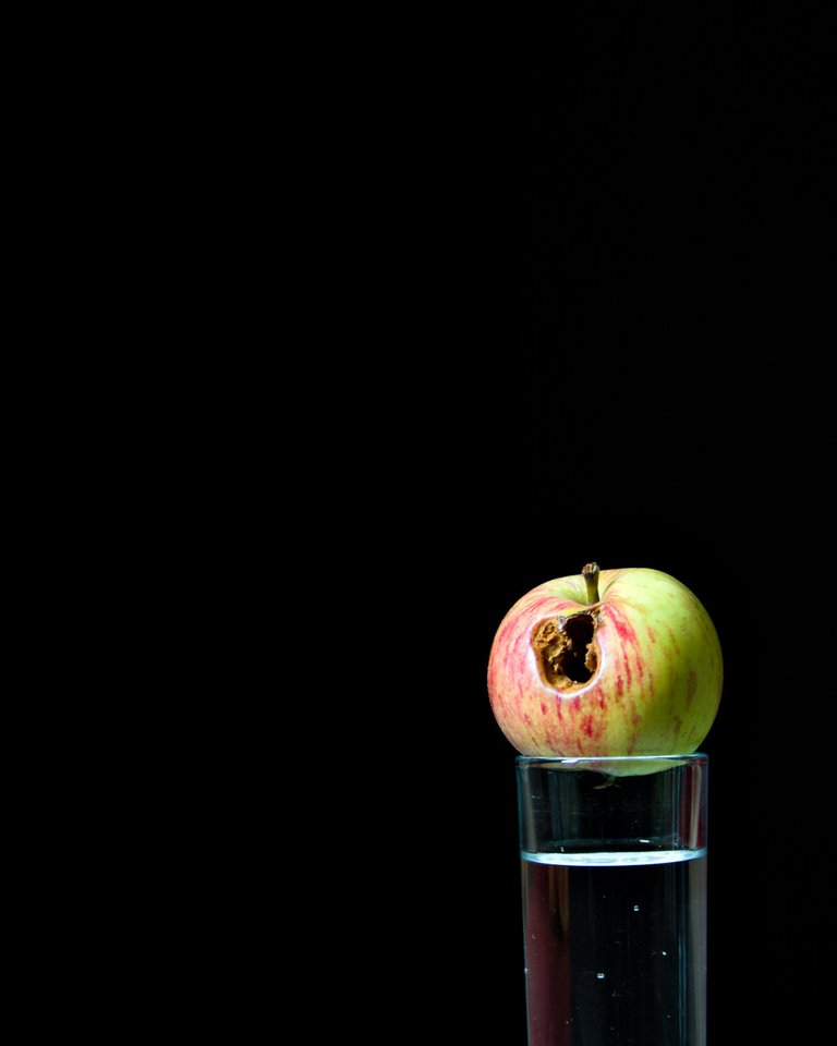 Apple on water glass