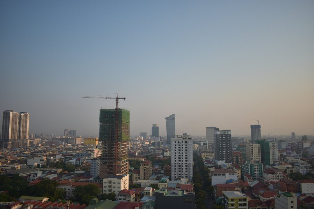 Rooftop Image of Phnom Penh from Courtyard Hotel - North