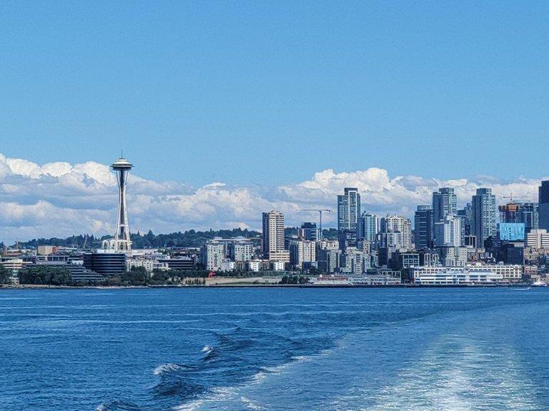 Looking from the back of Bainbridge Ferry toward downtown Seattle