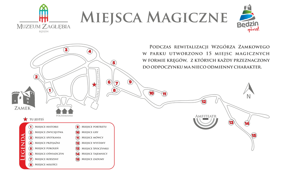 Plan wzgórza zamkowego w Będzinie z zaznaczonymi miejscami magicznymi