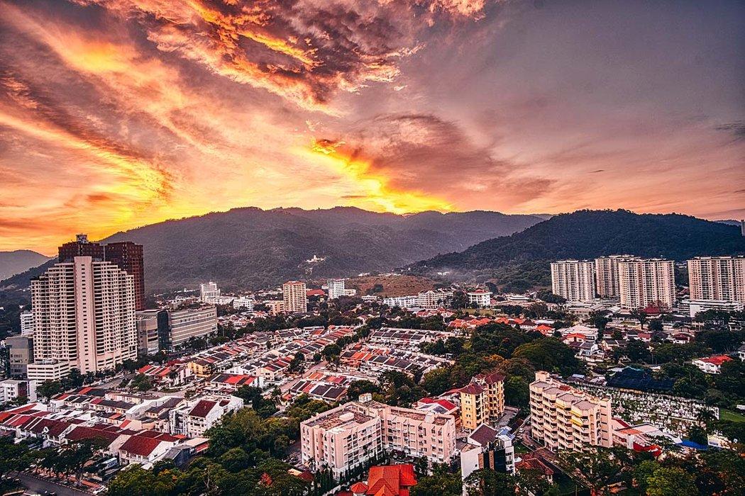 george town penang sunset