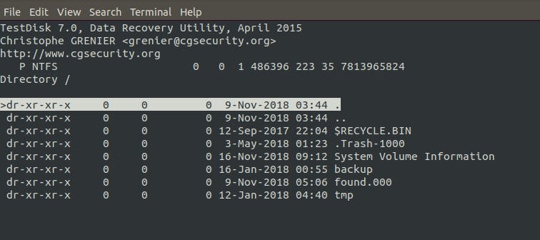 testdisk now able to list files of the repaired img