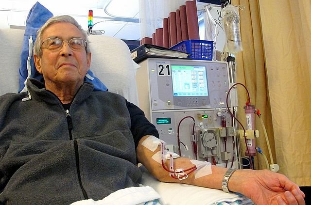 Patient receiving dialysis.
