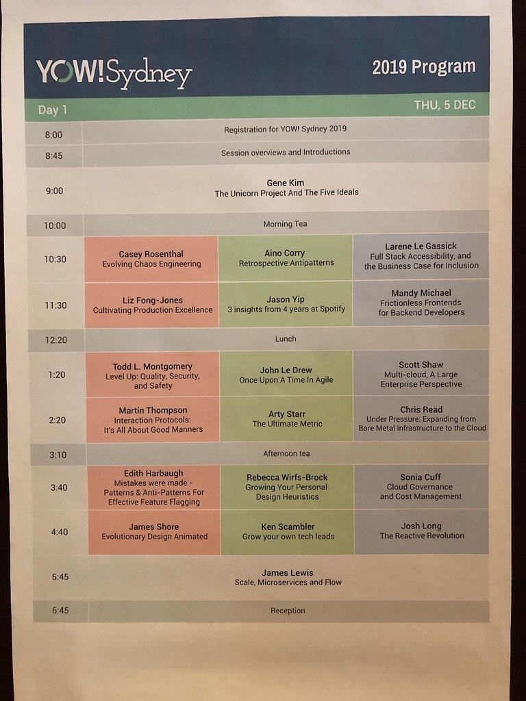 Yow! 2019 Day 1 program