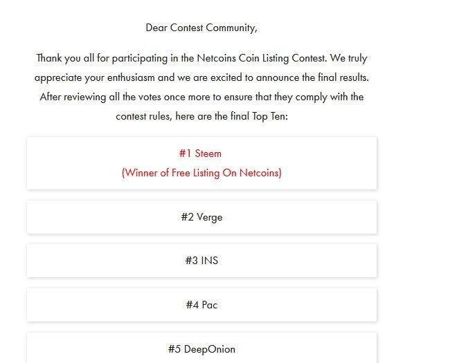 netcoins listing winner