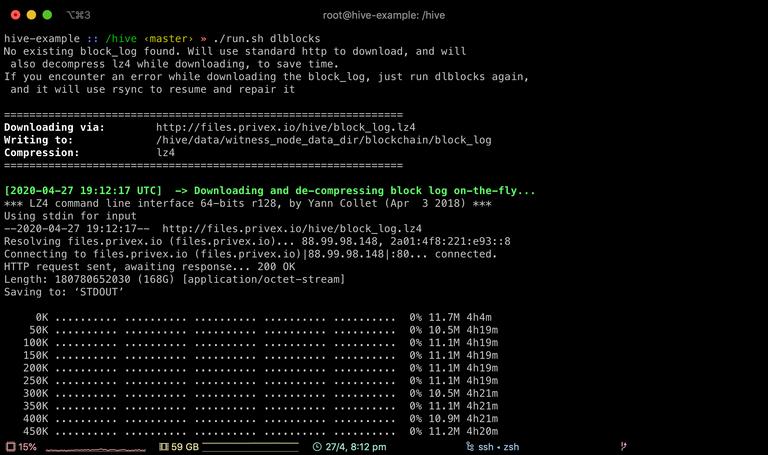 Screenshot of run.sh dlblocks command