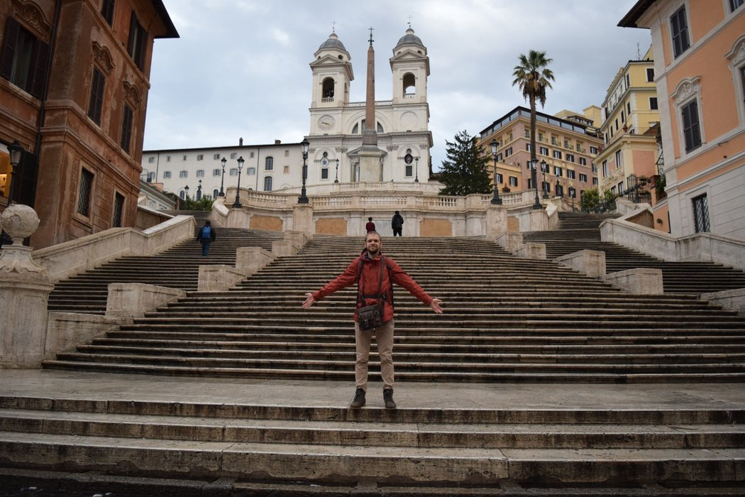 Customary arms out pose at the Spanish Steps!