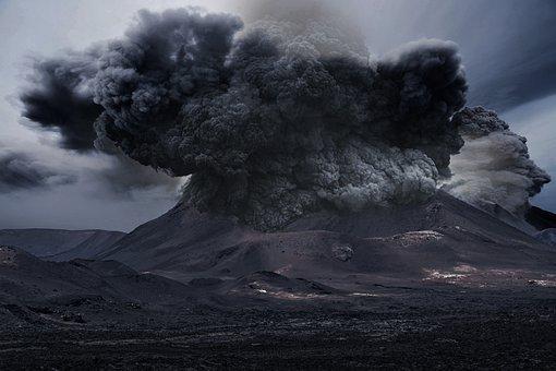 Volcano, Smoke, Ash, Mountain, Landscape
