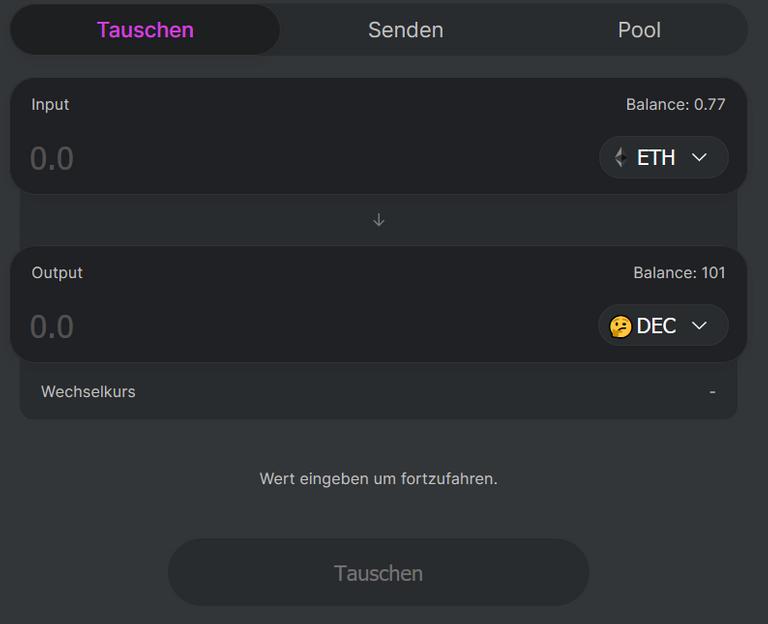 Uniswap trading interface