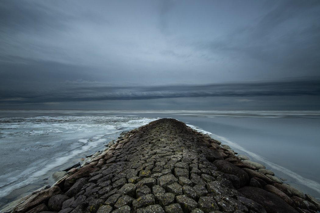 Rain clouds rolling in across the IJsselmeer lake!