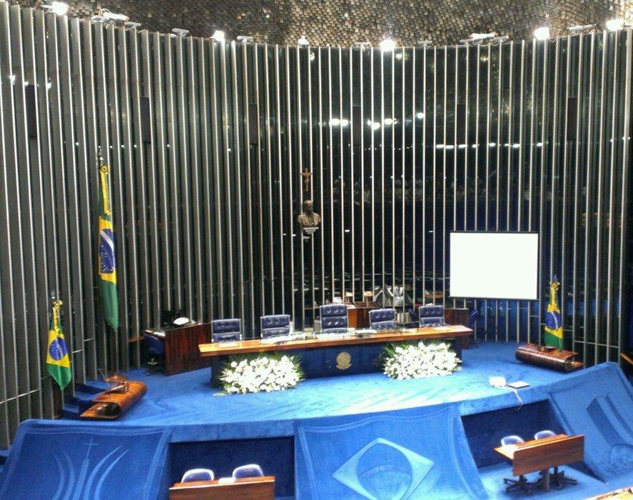 View of the presidium of the upper chamber of the Senate legislative branch