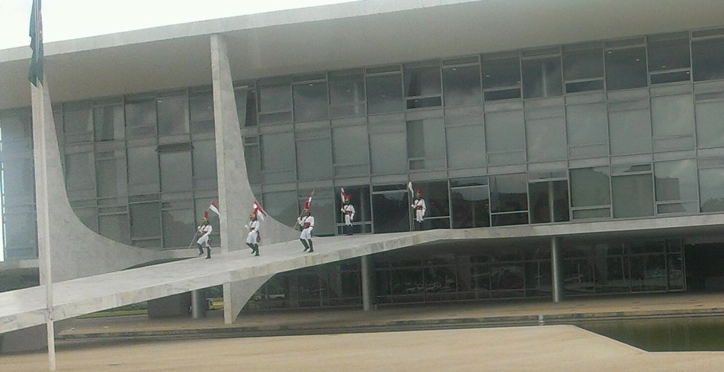 Close up: The changing of the guard in the executive palace of the federal government of Brazil