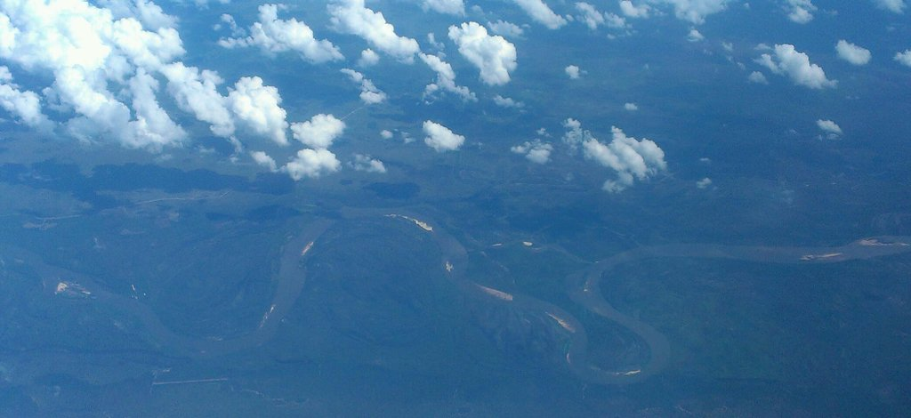 Aerial view from the plane of an Amazonian meander