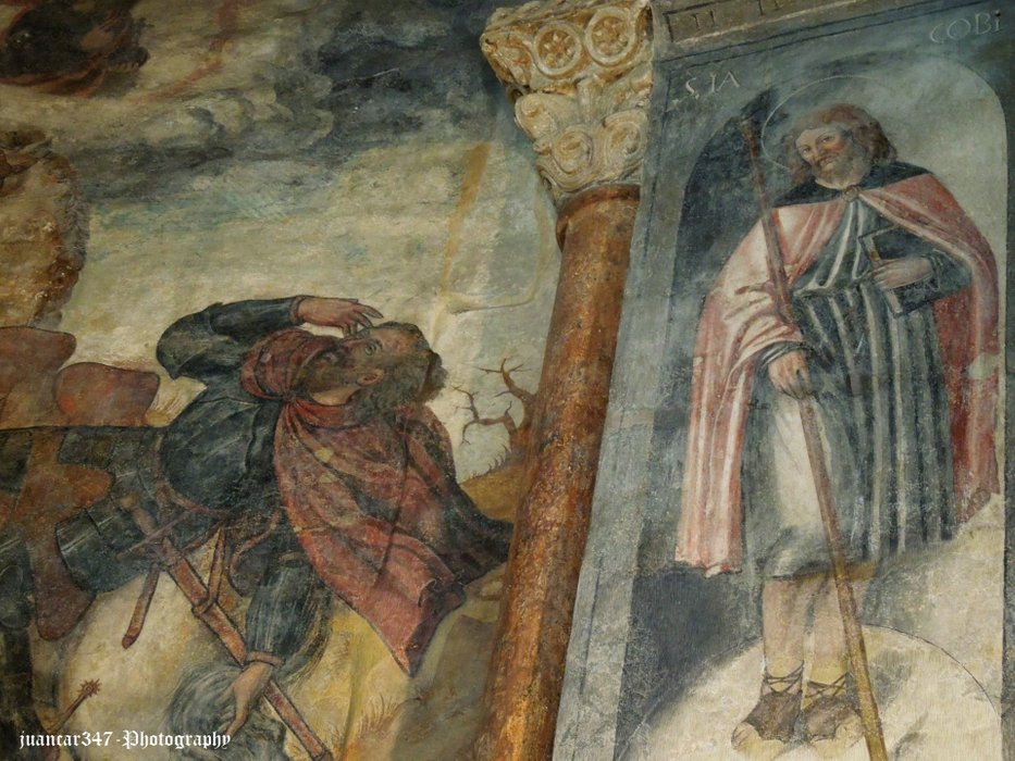 Gothic painting: right, Santiago Peregrino. Left, the vision of Saul on the way to Tarsus