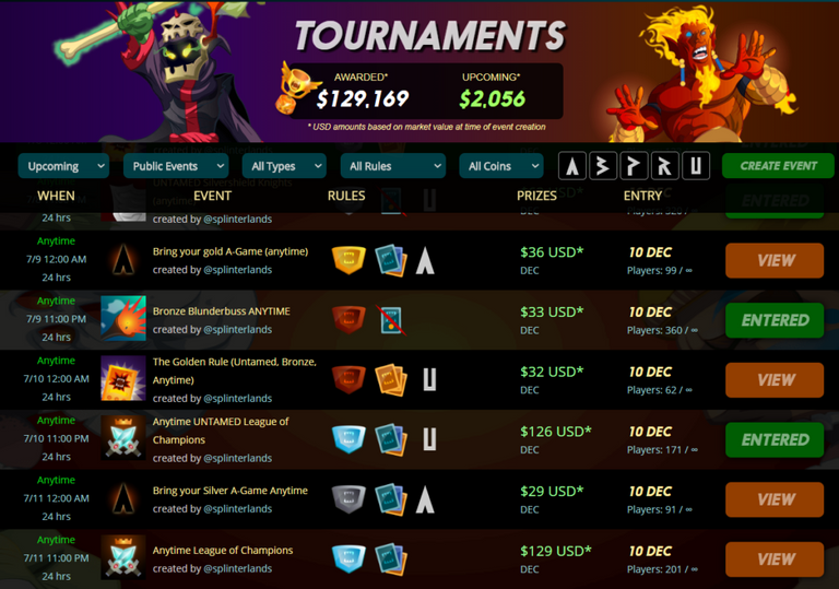 earn money playing splinterlands tournaments